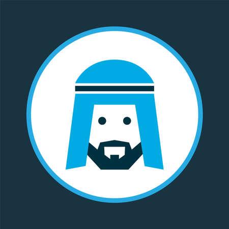 Simbolo colorato dell'icona dell'uomo arabo. Elemento uomo isolato di qualità premium in stile alla moda. Vettoriali