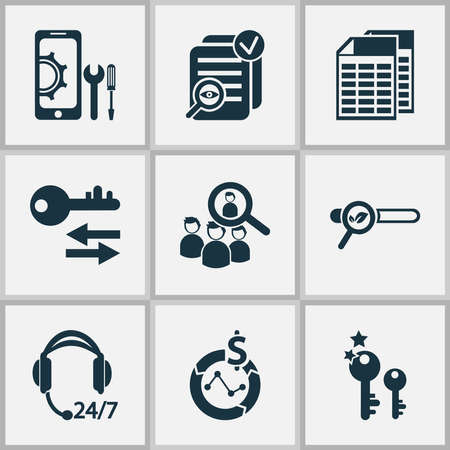 Business icons set with top keywords, mobile optimization, all-day support and other magnifier elements. Isolated vector illustration business icons.