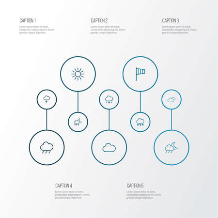 Air icons line style set with blizzard, fog, snowfall and other snow elements. Isolated vector illustration air icons.
