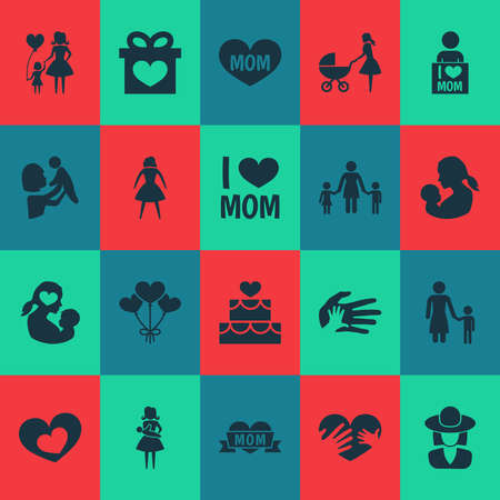 Mothers day icon design concept. Set of 20 such elements as woman, perambulator and i love mom. Beautiful symbols for mother, heart and love.