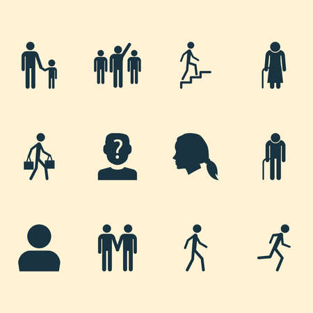Person icons set with profile, anonymous, female and other ladder elements. Isolated vector illustration person icons.