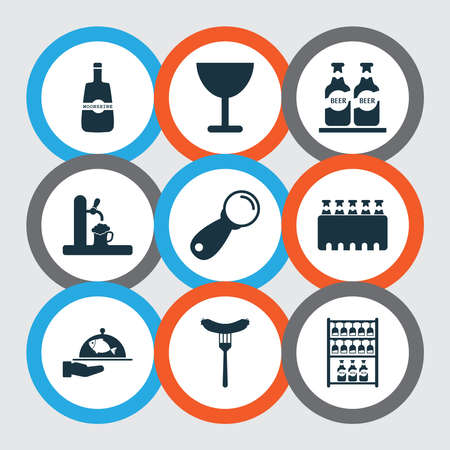 Beverages icons set with whisky, ale, sausage and other beer elements. Isolated vector illustration beverages icons. Stock Illustratie