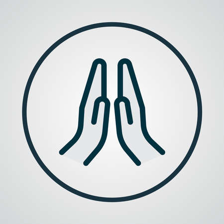 Prayer icon colored line symbol. Premium quality isolated praying hands element in trendy style.