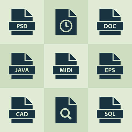 Document icons set with psd, folio, multimedia and other directory elements. Isolated vector illustration document icons.