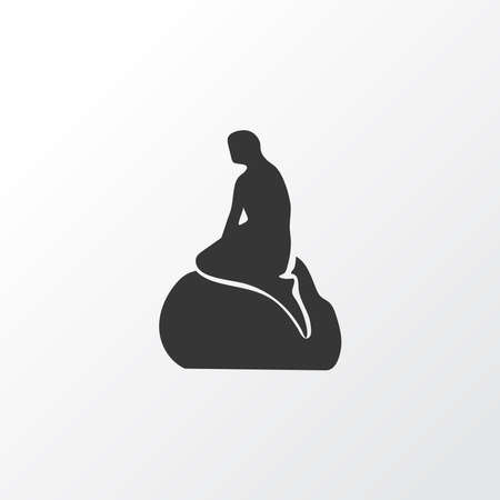 Little mermaid statue icon symbol. Premium quality isolated monument element in trendy style.