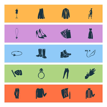 Fashionable icons set with cross stitch, trousers, cardigan and other embroidery elements. Isolated vector illustration fashionable icons.