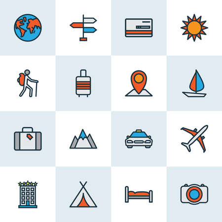 Traveling icons colored line set with bank card, signpost, tourist with backpack and other climbing elements. Isolated vector illustration traveling icons. Illusztráció