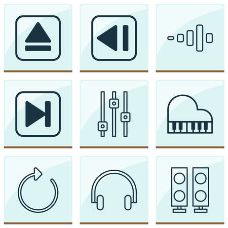 Multimedia icons set with headphone, fast forward song, equalizer and other reload elements. Isolated vector illustration multimedia icons. Illusztráció