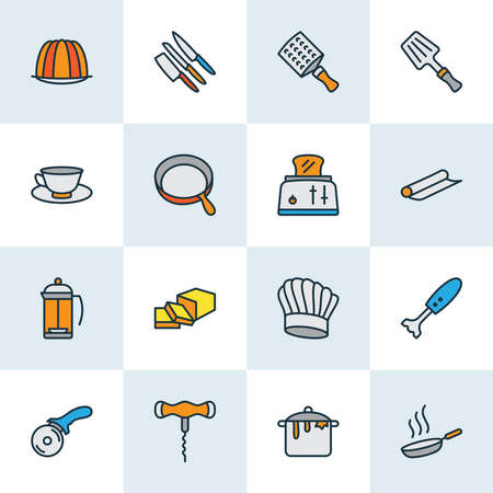 Gastronomy icons colored line set with dirty pot, spatula, french press and other baking paper elements. Isolated vector illustration gastronomy icons. Illustration