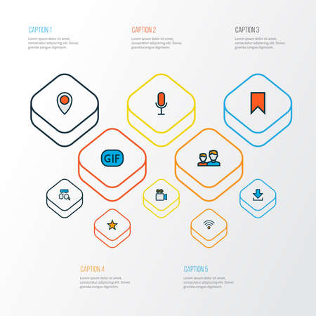 Network icons colored line set with gif sticker, voice chat, video conversation and other camcorder elements. Isolated vector illustration network icons.