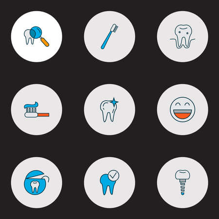 Enamel icons colored line set with dental implant, parodontosis, dental care and other implantation elements. Isolated vector illustration enamel icons.