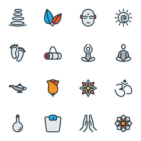 Relax icons colored line set with feet, hindu human, scales and other barefoot elements. Isolated vector illustration relax icons.