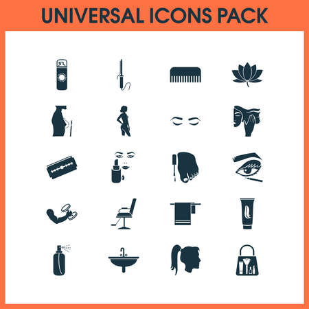 Beautiful icons set with curling iron, breast augmentation, lotus flower and other merchandise elements. Isolated vector illustration beautiful icons. Иллюстрация