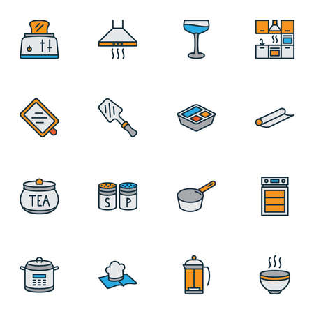 Cook icons colored line set with lunchbox, french press, recipe book and other furnace elements. Isolated vector illustration cook icons. Ilustração