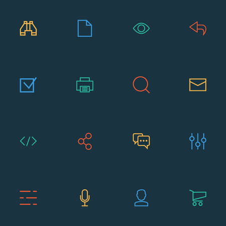 User icons line style set with social, equalizer, binocular and other file elements. Isolated illustration user icons.