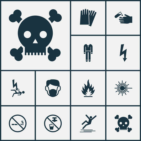 Safety icons set with protective clothing, flammable, electrical hazard and other laser beam elements. Isolated vector illustration safety icons. Stock Illustratie