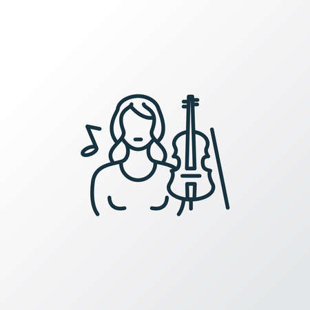 Musician woman icon line symbol. Premium quality isolated violinist element in trendy style. Stok Fotoğraf