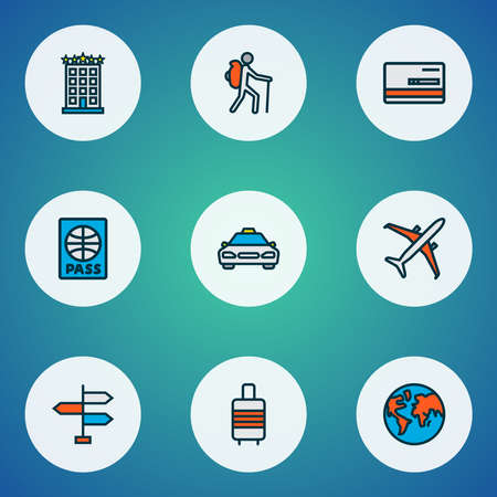 Journey icons colored line set with airplane, baggage suitcase, taxi and other citizenship elements. Isolated vector illustration journey icons. Vectores
