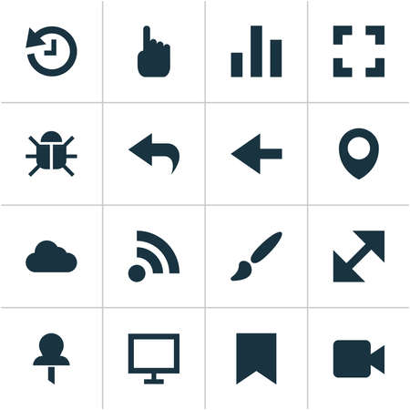 Interface icons set with video, pin, cloud and other change elements. Isolated vector illustration interface icons.