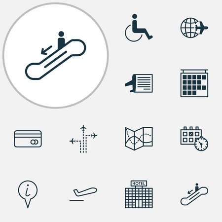Transportation icons set with info pin, disabled handicap, plane departure plastic card elements. Isolated vector illustration transportation icons.