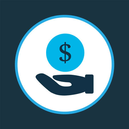 Hand money icon colored symbol. Premium quality isolated save coin element in trendy style.