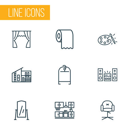 House icons line style set with sound system, clothing rack, stylish chair and other drape elements. Isolated vector illustration house icons.