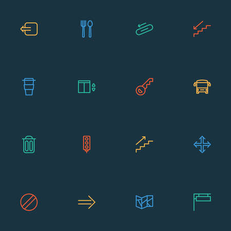 Navigation icons line style set with way out, elevator, key and other ban elements. Isolated vector illustration navigation icons.