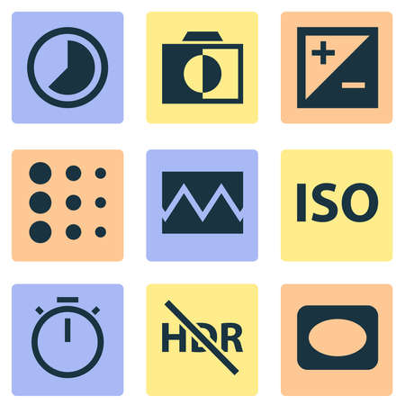 Photo icons set with timer, timelapse, vignette and other colorless elements. Isolated vector illustration photo icons.