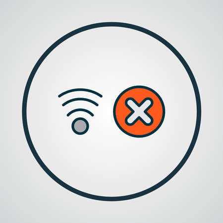 No network icon colored line symbol. Premium quality isolated stop wifi element in trendy style.