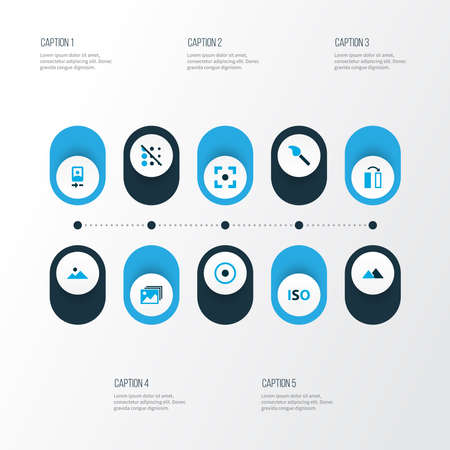 Image icons colored set with circle, iso, center focus and other dartboard elements. Isolated vector illustration image icons.