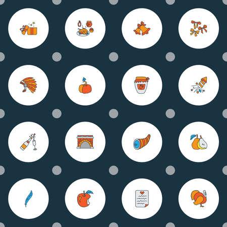 Feiersymbole farbige Linie mit Federn, Kürbis, Glocken und anderen Jingle-Elementen. Isolierte Vektor-Illustration-Feier-Symbole.