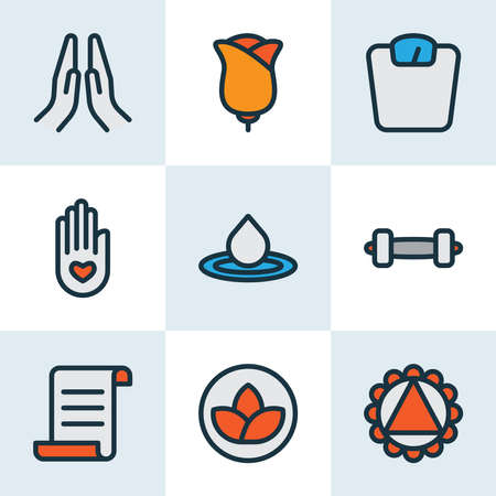 Relax icons colored line set with prayer, lotus, water drop and other palm elements. Isolated vector illustration relax icons.