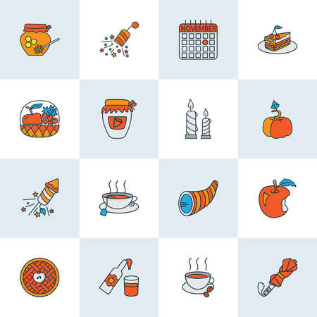 Thanksgiving icons colored line set with umbrella, pumpkin, cider and other beverage elements. Isolated illustration thanksgiving icons.