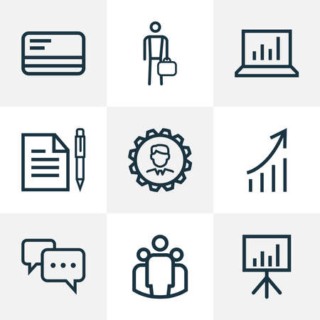 Job icons line style set with payment, group, contract and other manager elements. Isolated vector illustration job icons.