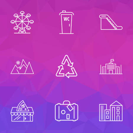 Urban icons line style set with escalator, mountains, recycle and other reuse elements. Isolated illustration urban icons.