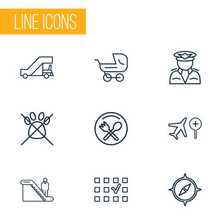 Airport icons line style set with no animals, search flight, stroller and other captain elements. Isolated vector illustration airport icons.