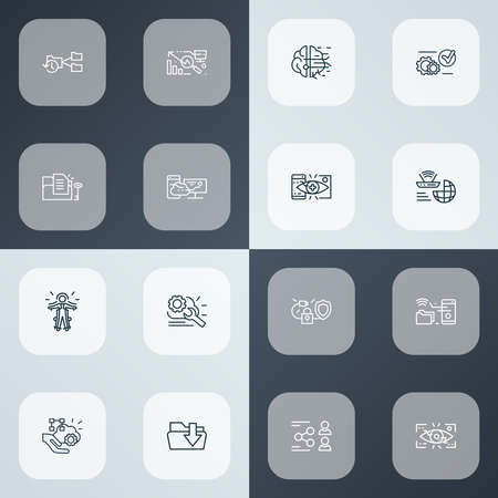 Connection icons line style set with eyetap augmentation, remote access, synching with mobile and other repair elements. Isolated vector illustration connection icons. Иллюстрация