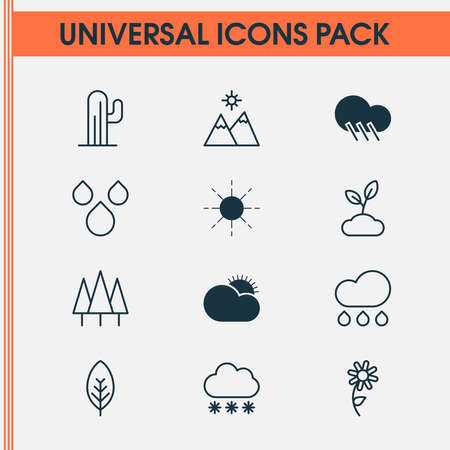 Landscape icons set with daisy, clear sunrise, wood and other sunflower elements. Isolated illustration landscape icons.