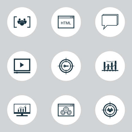 Advertising icons set with audience targeting, website optimization, focus group and other coding elements. Isolated illustration advertising icons.