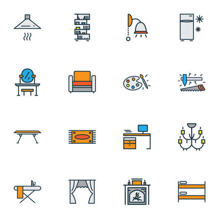 House icons colored line set with bookshelf, carpet, double decker bed and other extractor elements. Isolated illustration house icons. Stockfoto