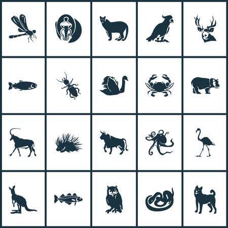 Icônes animales avec morue, flamant rose, saumon et autres éléments cancéreux. Icônes d'animaux d'illustration vectorielle isolée. Vecteurs