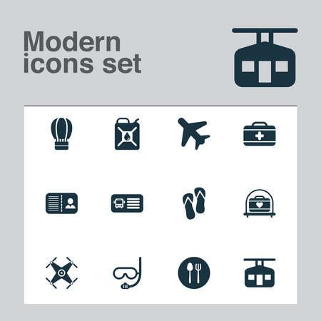 Tourism icons set with bus ticket, certification, flip flops and other silverware elements. Isolated vector illustration tourism icons.