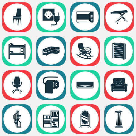 Housing icons set with column, circular staircase, double decker bed and other seat elements. Isolated vector illustration housing icons.