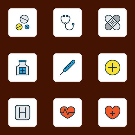 Antibiotic icons colored line set with hospital, patch, heart and other heart pulse elements. Isolated vector illustration antibiotic icons.