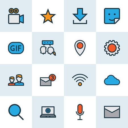 Soziale Symbole farbige Linie mit Einstellungen, Standort, Cloud und anderen Animationselementen. Isolierte Vektor-Illustration soziale Symbole.