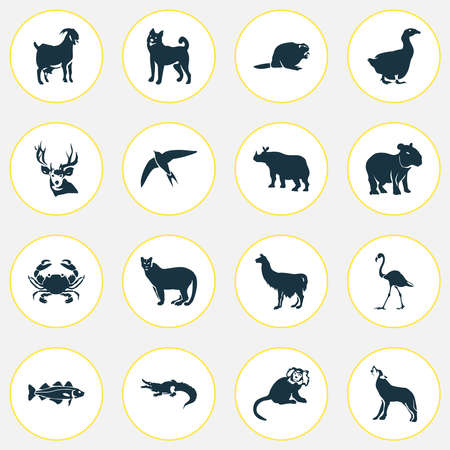 Fauna icons set with capybara, deer, goose and other ape elements. Isolated vector illustration fauna icons.