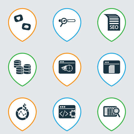 Finance icons set with marketing strategy, immediate response, likes with comments and other manual elements. Isolated vector illustration finance icons.