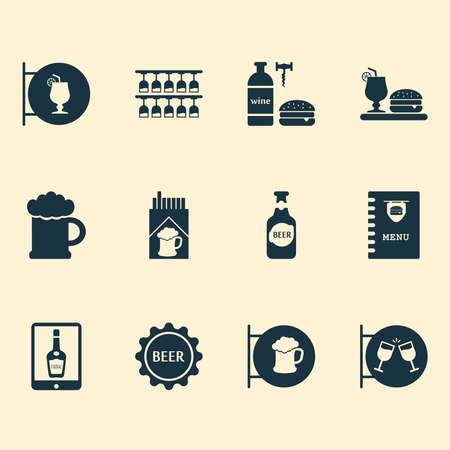 Beverages icons set with dinner, wine with burger, bottle of beer and other cocktail with burger elements. Isolated vector illustration beverages icons.