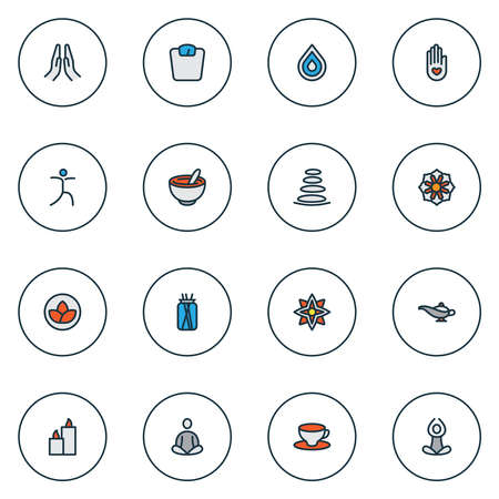 Meditation icons colored line set with drop, healthy food, relaxation and other mortar elements. Isolated vector illustration meditation icons. Standard-Bild