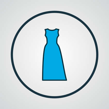 Maxi dress icon colored line symbol. Premium quality isolated evening wear element in trendy style.